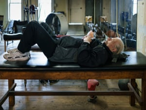 Doug worked out regularly but also took time out for quick naps on the exercise tables