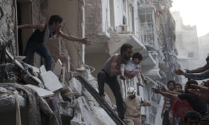 A man evacuates a child from a building in Aleppo following a reported barrel bomb attack by Syrian government forces. A US embassy tweet said: 'We have long seen that the regime avoids Isis lines, in complete contradiction to the regime's claims to be fighting Isis.'
