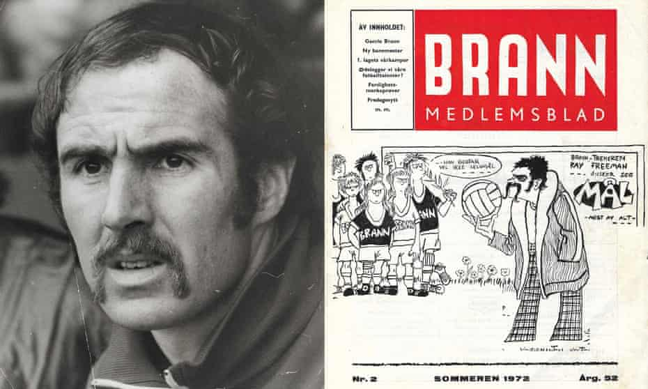 Ray Freeman, described as 'a hard coach but a nice man', in the dugout and on the cover of a 1972 publication for Brann members.