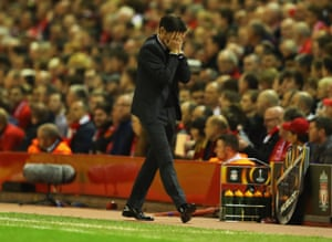 Marcelino Garcia Toral can barely watch as Liverpool dominate.