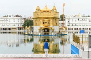 A Sikh devotee at the deserted Golden Temple in Amritsar