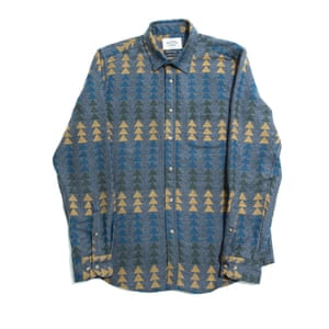 Aztec patterned shirt blue grey yellow