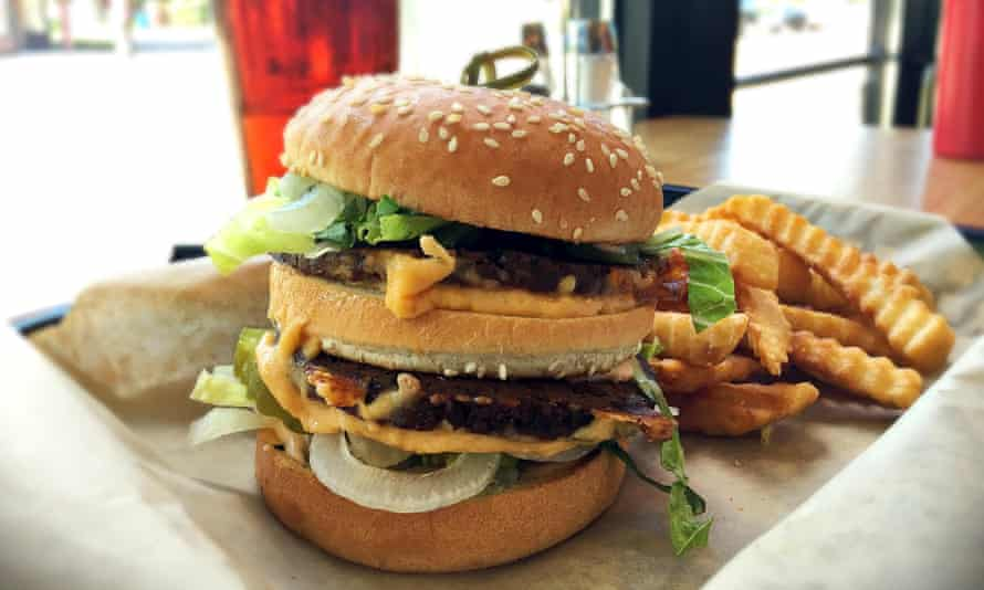 Yes ve-gan! A meat- and dairy-free double 'cheeseburger'.