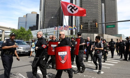 Members of the National Socialist Movement demonstrate against the Motor City Pride festival in Detroit, Michigan, on 8 June.