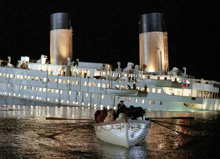 Lifeboat scene from Titanic (1997), the film for which Peter Lamont won an Oscar for best production design.