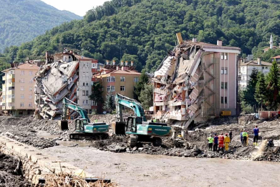 Wreckage and mud removal works continue after the deadly flash floods in Bozkurt district of Kastamonu, Turkey