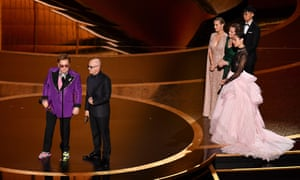 Elton John and Bernie Taupin who won best original song for I'm Gonna Love Me Again from Rocketman. The award was presented by Brie Larson, Sigourney Weaver and Gal Gadot