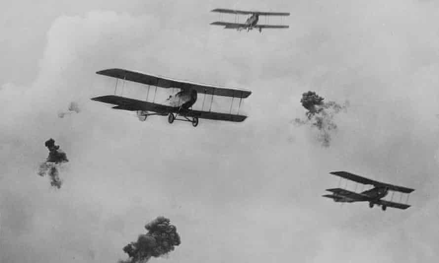 Shrapnel bursting amongst reconnoitering planes. Picture from an exhibition of war photographs taken by Capt. F. Hurley, 1917- 1918.