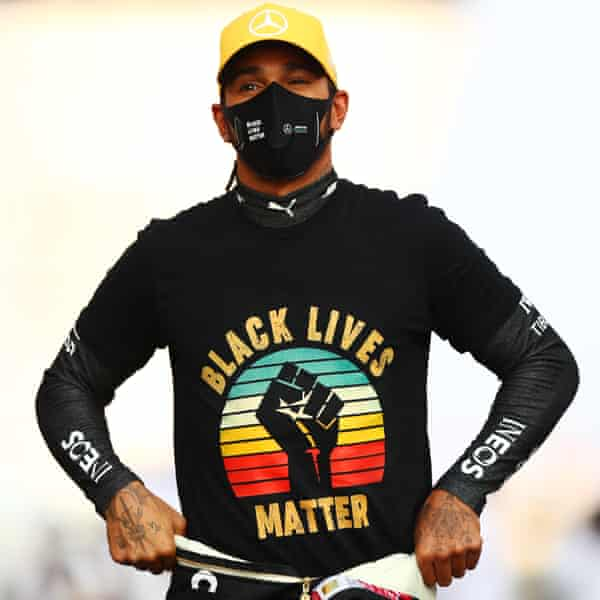 Lewis Hamilton stands on the grid prior to the Abu Dhabi Grand Prix in December 2020.
