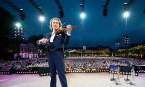 André Rieu performs one of his annual summer concerts in Vrijthof square, Maastricht.