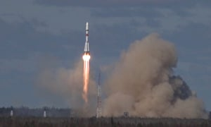 A Soyuz-2 1b rocket booster carrying a Russian military satellite is launched in Arkhangelsk region in May.