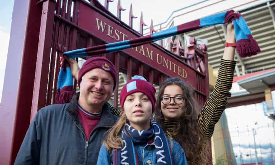 Pete May and his daughters outside Upton Park
