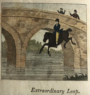 A man riding a horse off a bridge in The Third Chapter of Accidents.