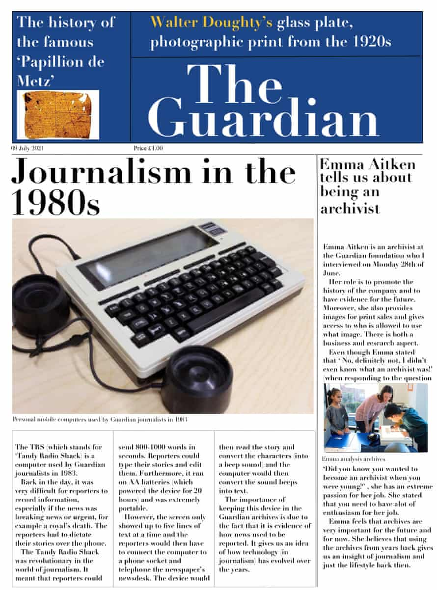 A student-made newspaper. It is blue at the top and the masthead reads, 'The Guardian'.