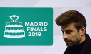 Gerard Pique at a Davis Cup presentation in Madrid