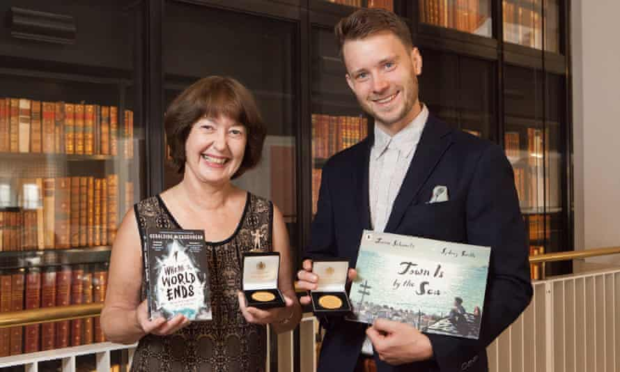 Geraldine McCaughrean, pictured with Kate Greenaway award winning illustrator Sydney Smith at the British Library.