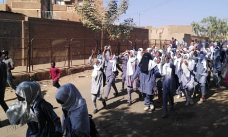 Sudanese schoolgirls on an anti-government protest