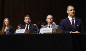 """Monika Bickert, head of global policy management at Facebook, Nick Pickles, public policy director for Twitter, Derek Slater, global director of information policy at Google and George Selim, senior vice president of programs at the Anti-Defamation League attending a committee hearing on """"mass violence, extremism, and digital responsibility"""" on Capitol Hill today"""