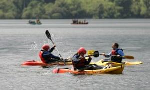 Kayaking on Castlewellan Lake.