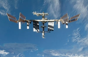 View of the International Space Station, shortly after the shuttle Discovery undocked, 8 September 2009
