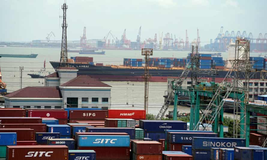 Shipping containers at a port in Shanghai, China