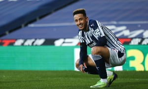 Just look at his face: Callum Robinson celebrates after scoring West Brom's third goal.
