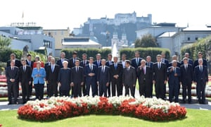 European leaders are pictured during the European Union's informal heads of htate summit in Salzburg on 20 September