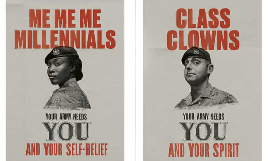 Army recruitment posters for 'me, me, me millennials' and 'class clowns'