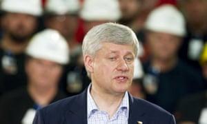 Stephen Harper speaks at a campaign stop in Burlington, Ontario.