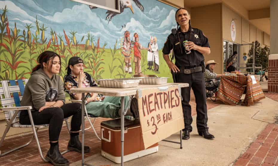 California dreaming … Devery Jacobs, left, and Paulina Alexis as two of the teenagers, and Zahn McLarnon, as the local law enforcer.