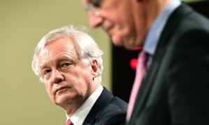 Brexit secretary David Davis and Britain's chief negotiator Michel Barnier.