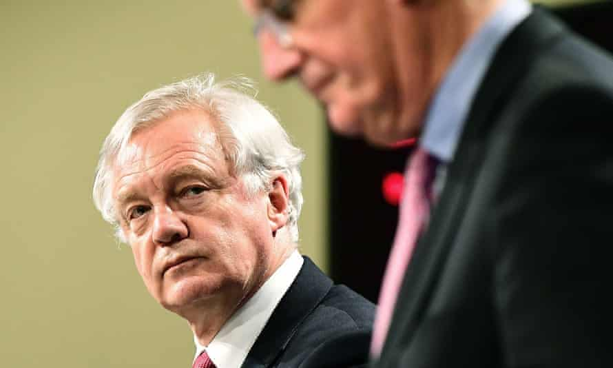 Brexit secretary David Davis and Britain's chief negotiator Michel Barnier.