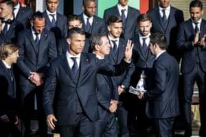 Cristiano Ronaldo (centre) at a reception at the Portuguese team's base camp.