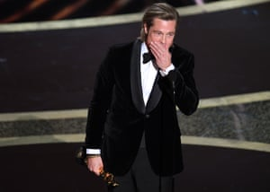 Brad Pitt accepts the first award of the evening for best supporting actor for Once Upon a Time in Hollywood.