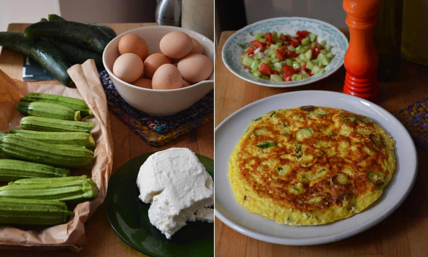 Rachel Roddy's recipe for courgette, ricotta and mint frittata
