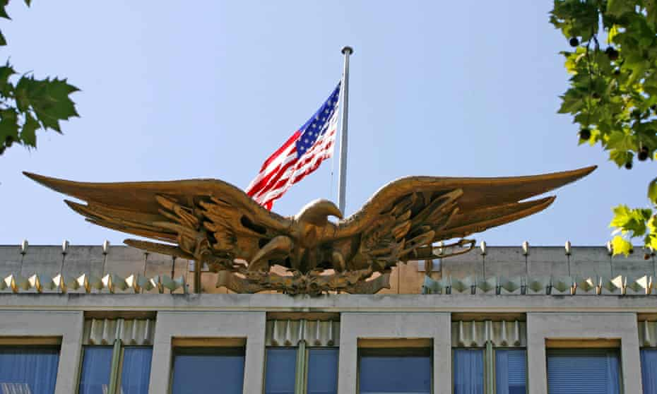 The gilded eagle over the US embassy in Grosvenor Square, central London