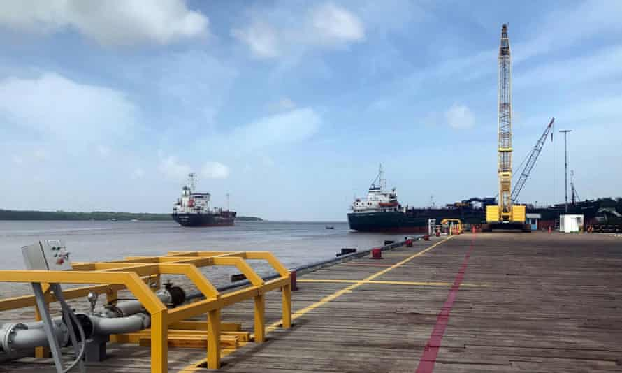 Vessels carry supplies from a dock near the Guyanese capital, Georgetown, to an offshore oil platform operated by ExxonMobil.