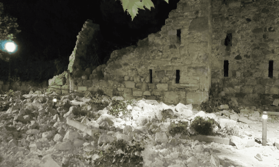 A building near Bodrum was damaged by the quake.