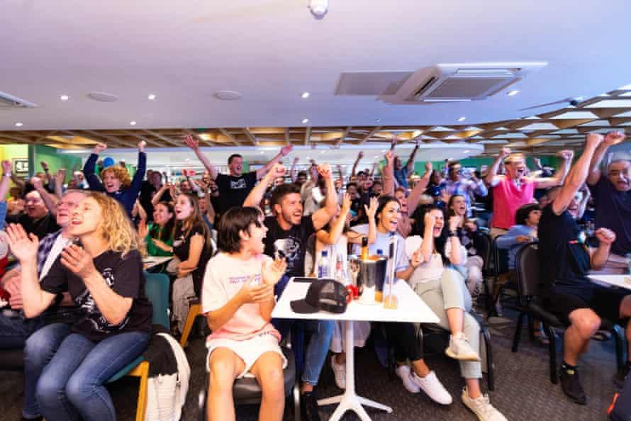 Fans at the Parklangley club celebrate Emma Raducanu winning the US Open final