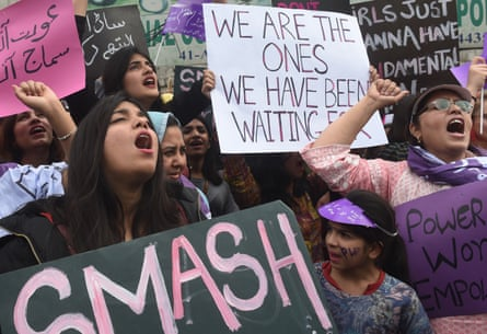 Demonstrators at a women's rights rally staged in Lahore on International Women's Day