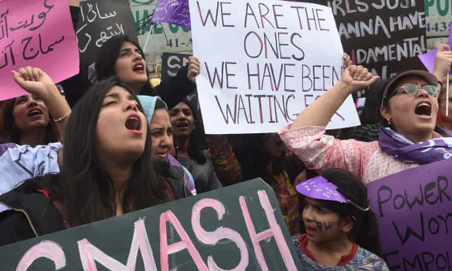 a rally for women rights on International Women's Day in Lahore