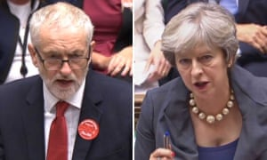 Jeremy Corbyn and Theresa May at PMQs today.