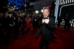 Mark Hamill (Luke Skywalker) hams it up for the cameras.