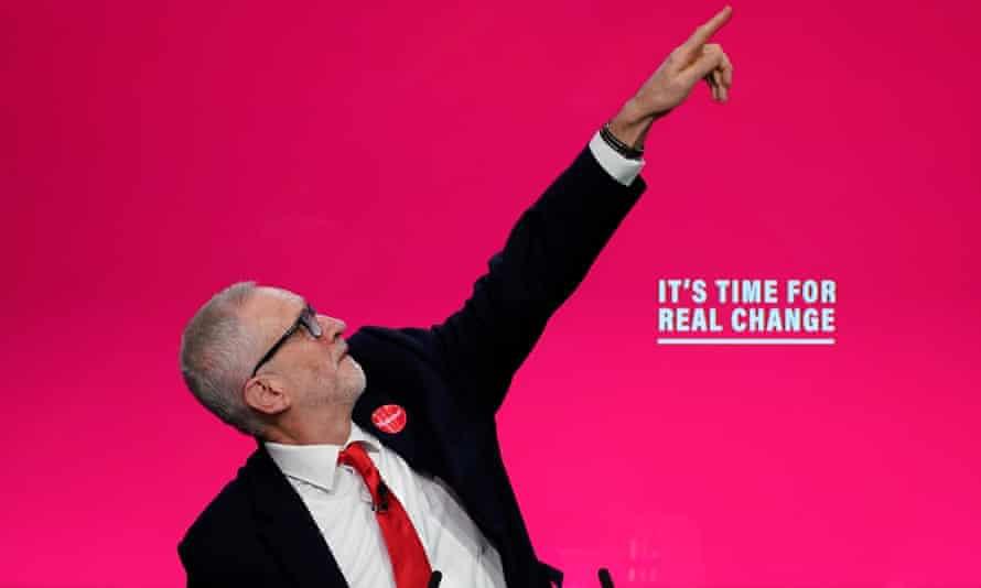Jeremy Corbyn on stage