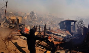 Houses destroyed by fire in Valparaiso