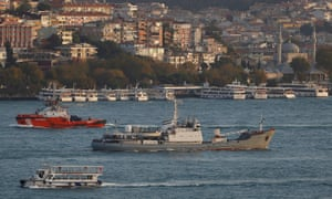 Russian Navy's reconnaissance ship Liman, of the Black Sea fleet, is pictured in the Bosphorus last year.
