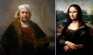 Head to head … Self-Portrait With Two Circles by Rembrandt and Leonardo da Vinci's Mona Lisa.