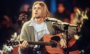 Kurt Cobain during the recording of Nirvana's MTV Unplugged session.