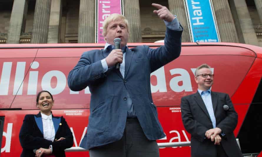 Boris Johnson speaks at a rally with Priti Patel and Michael Gove  in Preston town centre on 1 June