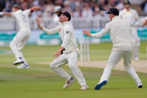 Rory Burns catches Wade off Broad's delivery.